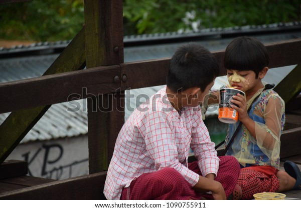 Myanmar Sister Her Brother Sitting On Stock Photo (Edit Now