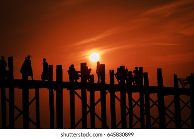 MYANMAR U Bein Bridge Silhouette in twilight in Mandalay Myamar.
