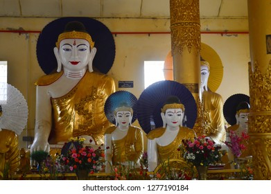 Myanmar, Ye. December 07, 2018 : Buddha statues in the She San Daw pagoda.