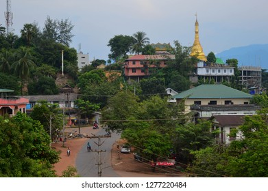 Myanmar, Ye. December 07, 2018 : The hilltop She San Daw pagoda.