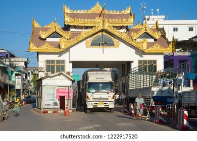 MYAWADDI, MYANMAR - DECEMBER 28, 2016: Thai truck on the Burmese checkpoint. Crossing the border of Myanmar and Thailand