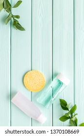 mycelial water , lotion and sponge for skin care and plant on mint green wooden background flat lay space for text