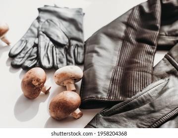 mycelium leather, bio based sustainable alternative leather made of mushrooms. plant textile. Jacket and gloves. eco biodegradable vegan leather.