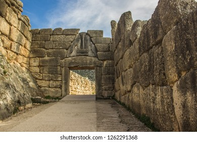 Mycenae gates of ancient Greek city country side building landmark tourist sightseeing world heritage site concept