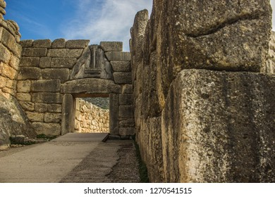 Mycenae Lions Gates world heritage site in abandoned ruined stone antique city from ancient Greece times