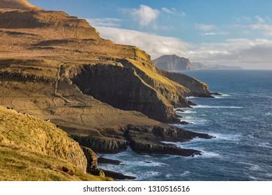 Mykines Coastline in the Faroe Islands.