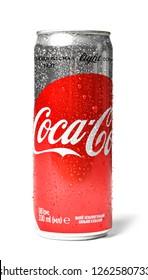 MYKOLAIV, UKRAINE - NOVEMBER 15, 2018: Coca Cola can on white background