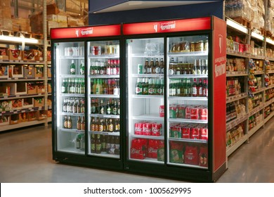 MYKOLAIV, UKRAINE - October 31, 2017: Refrigerators with popular alcohol drinks in hypermarket METRO