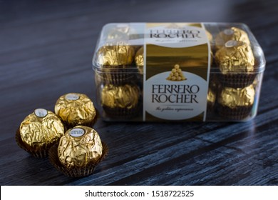Mykolaiv, Ukraine - September 30, 2019. Ferrero Rocher - sweets consist of a whole hazelnut, enclosed in a thin wafer filled with hazelnut cream, coated with milk chocolate and chopped hazelnuts.