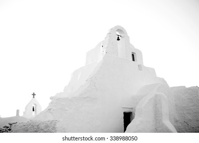 Mykonos church, black and white image of paraportiani church