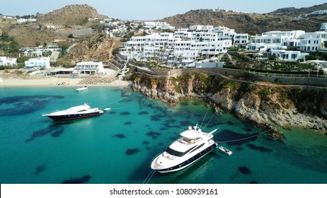 Mykonos, Cyclades / Greece - May 01 2018: Aerial drone photo of famous resort of Mykonos blue in iconic island of Mykonos, Cyclades, Greece