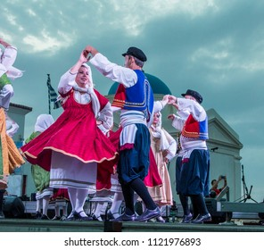 Mykonos, Cyclades / Greece - May 20 2018: Mykonos Folkloric Festival 2018