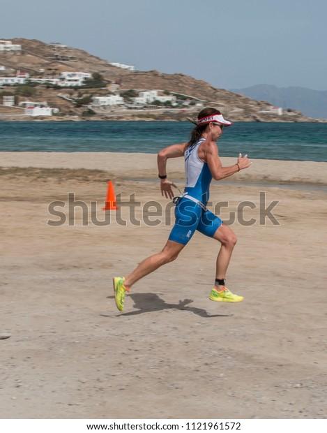 Mykonos, Cyclades / Greece - May 20 2018: Triathlon1 Mykonos Multisport