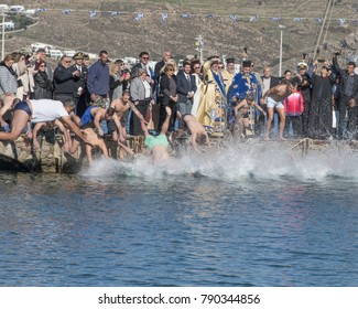 Mykonos, Cyclades/Greece-01/06/2018: Epiphany Celebration Diving For The Cross