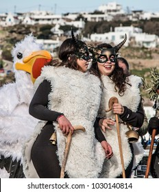 Mykonos, Cyclades/Greece-February 18 2018:  Traditional carnival parade in Mykonos town.