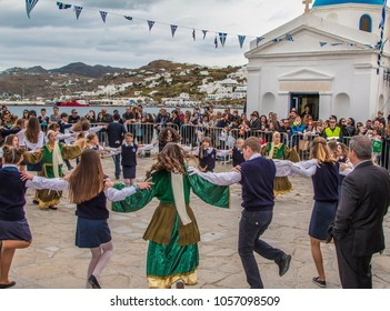 Mykonos, Cyclades,Greece-March 25 2018: Greek Independence Day Parade and Celebration