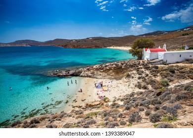 Mykonos, Greece - 7 16 2018: Chapel above the beach on the greek island Mykonos