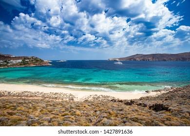 Mykonos, Greece - 7 16 2018: Panormos Beach on Mykonos Island