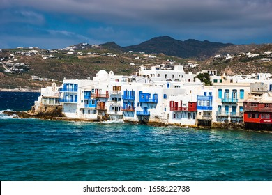 MYKONOS, GREECE - APRIL 2018: Beautiful scenery with traditional architectural buildings and houses at Little Venice area in Mykonos island, cyclades Greece.