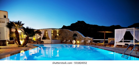 Mykonos, Greece - August 20 , 2016: The swimming pool of a hotel near to Paradise beach of Mykonos, Greece