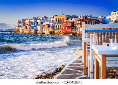 Mykonos, Greece. Little Venice waterfront houses, considered one of the most romantic places on the Cyclades Islands.