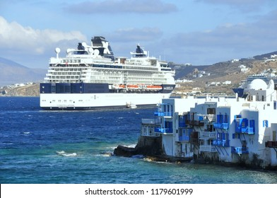 Mykonos, Greece - May 20, 2014 - Celebrity Cruise ship by the harbour on the island