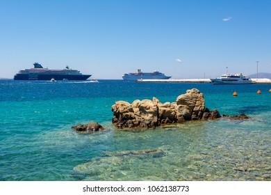 MYKONOS, GREECE - May 23, 2017: : View of Mykonos bay, ferries in background. Cyclades, Greece