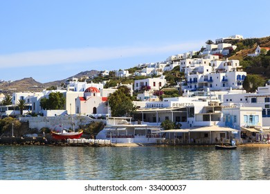 MYKONOS GREECE - May 24 2014 : Boats are mooring at Mykonos waterfront. Mykonos is the most popular Greek island, known for non-stop party island. Mykonos is European popular destination for tourism.