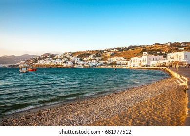 MYKONOS, GREECE - MAY 8, 2015: View from the old port of Mykonos town with unidentified visitors.