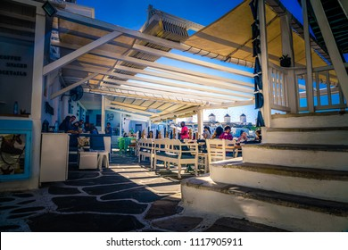 Mykonos, Greece, October 2017: Scarpa bar. Famous for its fresh fruit cocktails, Scarpa is a must see located in the heart of Little Venice