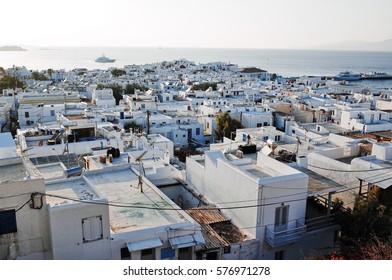 MYKONOS, GREECE - OCTOBER 6, 2014 : Mykonos Town