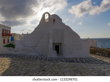 Mykonos, Greece - The Orthodox Church of Panagia Paraportiani.The Church of Panagia Paraportiani at Kastro area, in the town of Mykonos, between Little Venice and the old port.