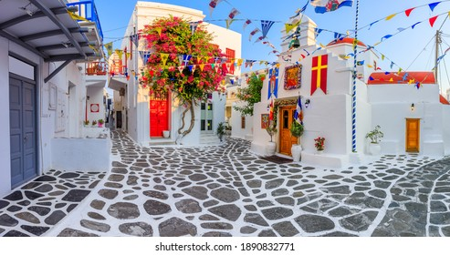 Mykonos, Greece. Panorama of the narrow streets of Mykonos town.