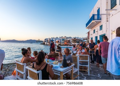 Mykonos, Greece (September 2017). The famous bay at Mykonos town, the place were tourists go to have a drink or a bite to eat while enjoying the view