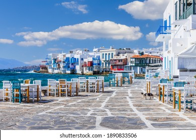 Mykonos, Greece. Waterfront in Little Venice, Mykonos.