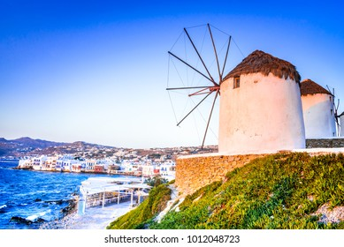 Mykonos, Greece. Windmills Kato Mili are iconic feature of the Greek island of the Mikonos, Cyclades Islands.