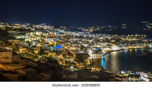 Mykonos island aerial panoramic view at night. Mykonos is a island, part of the Cyclades in Greece