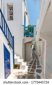 Mykonos island, picturesque whitewashed alley in Chora town, the capital of Mykonos, the most popular of Cyclades islands, in Greece, Europe.