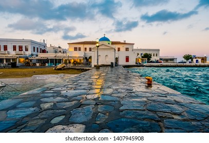 Mykonos island at sunset, view from pier