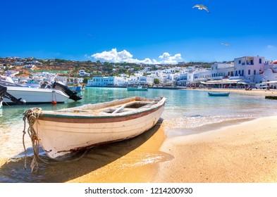 Mykonos port with boats, Cyclades islands, Greece