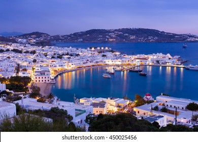 Mykonos port with boats at evening, Cyclades islands, Greeces
