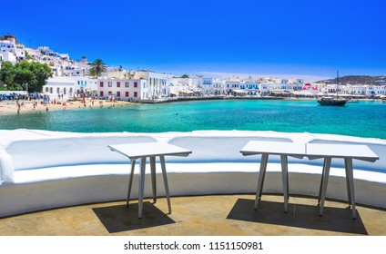 Mykonos port with boats and traditional houses, Cyclades islands, Greece