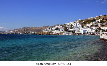 Mykonos town and blue sea, beautiful view