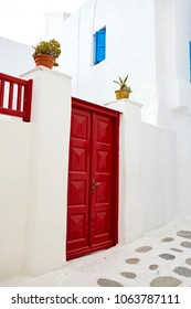 Mykonos Traditional colourful alley doors