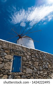 Mykonos windmill is an iconic feature of the Greek island of Mykonos. This island is one of the Cyclades arcipelago, near Delos in the Aegean Sea - Image