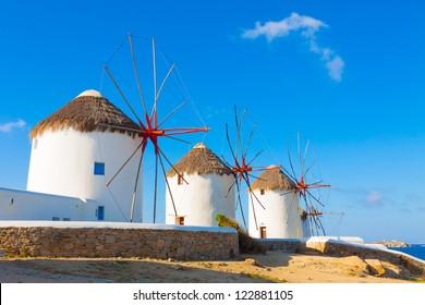 Mykonos Windmills and blue sky  Mykonos Island Greece Cyclades, Mykonos Greece