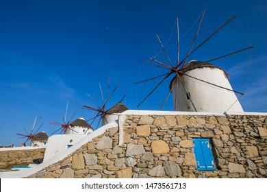 Mykonos Windmills - Little Venice The Mykonos windmills are iconic feature of the Greek island of the Mykonos. The windmills can be seen from every point of the village of Mykonos.