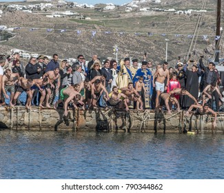 Mykonos,Cyclades/Greece-01/06/2018: Diving For The Cross During Epiphany Celebration