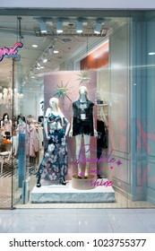 Mynx Babee shop at Emquatier, Bangkok, Thailand, Nov 10, 2017 : Luxury and fashionable clothing brand window display. Pink glittering showcase with attractive background decoration.