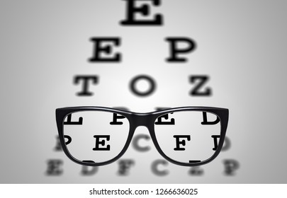 Myopia correction glasses on the eye chart letters background with vignette
